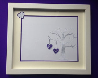 UK Seller: 1st Anniversary gift paper, lyrics tree and initials.
