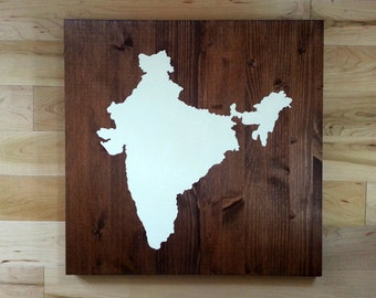 India Map Wood Sign