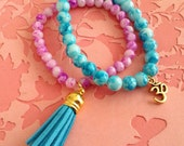Om, Ohm, Aum Yoga beaded Bracelet Stack