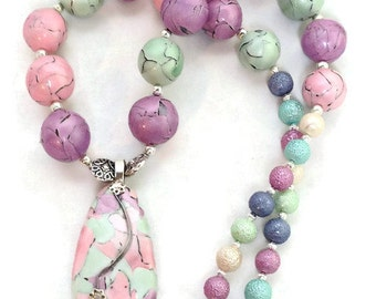 Pretty Pastel Polymer Clay Necklace - Approx 20 inch