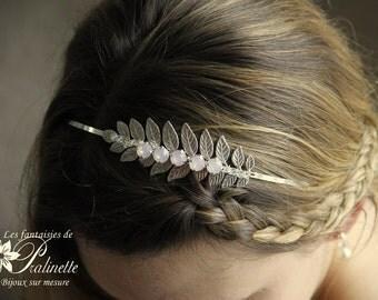 Headband déesse grècque branchage feuilles de laurier argentées et cristaux - Silver tone leaf headband and rose water opal rhinestones