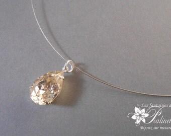 Pendentif goutte en cristal serti sur fil câblé - Bridal rhinestones pendant flowers necklace