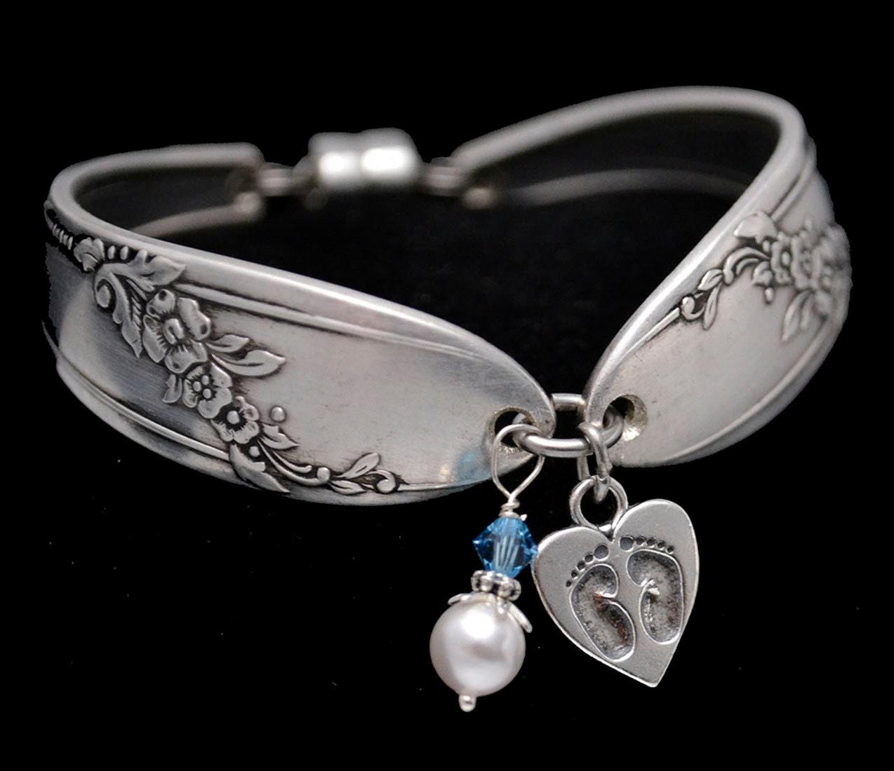 Baby Charm Bracelets: Spoon Bracelet Sterling Silver Baby Footprint Heart Charm New