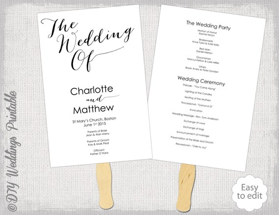 Wedding program fan template diy order of ceremony printable for Wedding processional order template