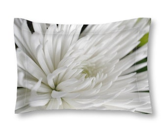 Pillow Sham, White Flower, Macro Photography, Neutral Colors, Spider Mum, Romantic Bedroom, Teen Decor, Apartment Home, Housewarming Gift
