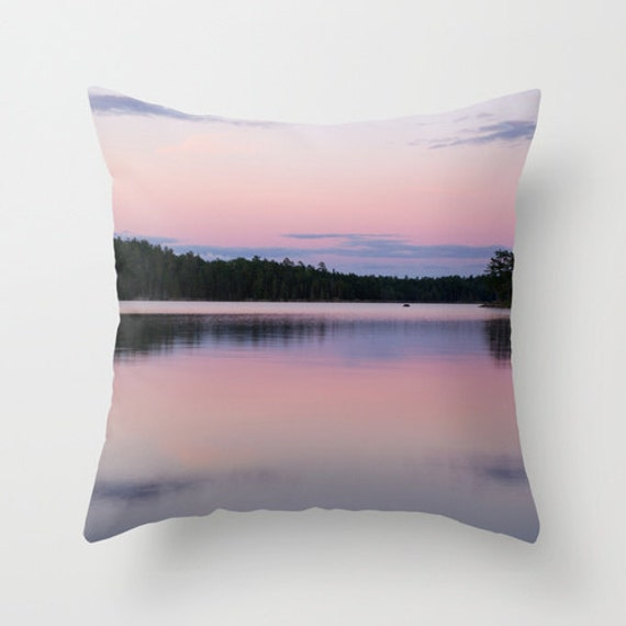 Pink and Purple, Pillow Cover, Indoor Outdoor, Nature Photography, Lake Image, Sunset Pictures, Porch Decor, Pastel Colors, Boundary Waters
