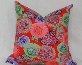 "Red purple green decorative throw pillow cover. 18"" x 18"" pillow cover."