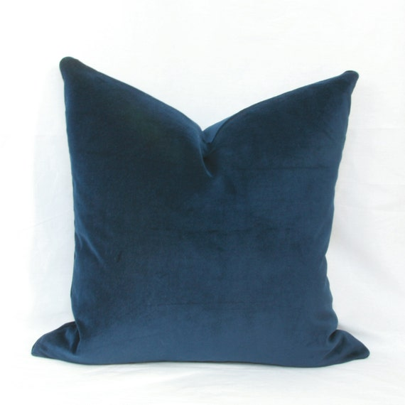 Navy blue velvet decorative throw pillow cover. by JoyWorkshoppe