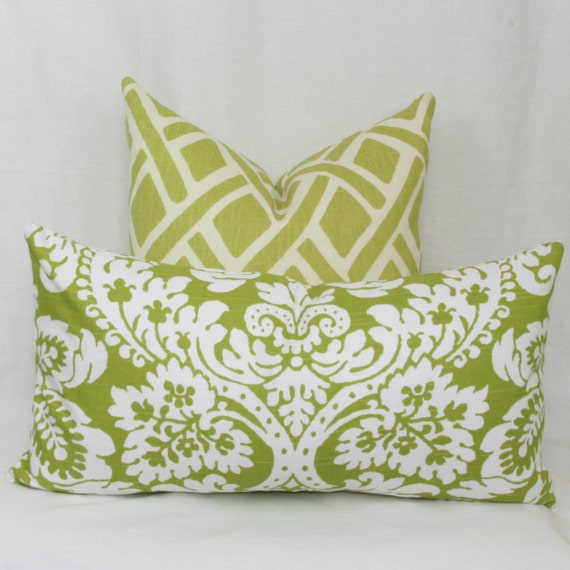Decorative Lumbar Pillows Green : Green & white damask decorative lumbar pillow by JoyWorkshoppe