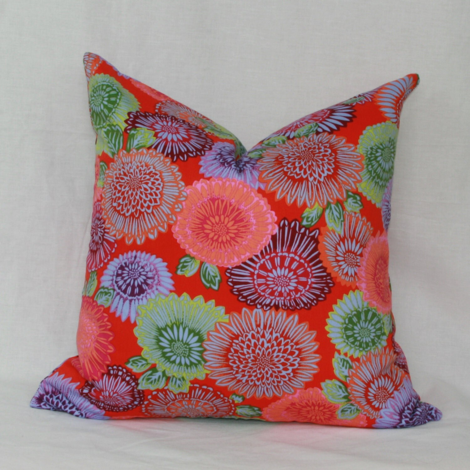 Red purple green decorative throw pillow cover. 18 x