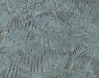 Sumatra Batik - Striped Leaves Blue/Gray - Blank Quilting (7285-93) Fabric Yardage