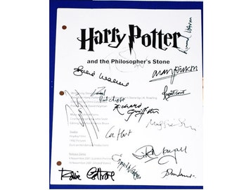 Harry Potter and the Philosopher's Stone  Sorcerer's Stone Movie Script Screenplay, Autographs Danielle Radcliffe, Emma Watson, Rupert Grint