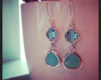Sea foam blue earrings, faceted gems