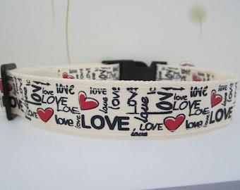 """Love Heart Dog Collar, personalized collar, 1"""" collar, Cute Dog Collar (2R)"""