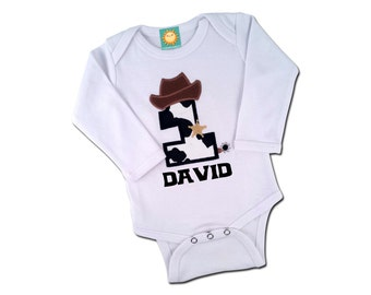 Baby Boy Western Cowboy Birthday Bodysuit with Cowhide Number and Name