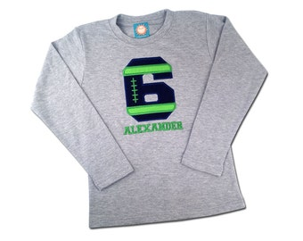 Boy's Football Birthday Shirt with Football Number and Name