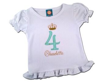 Princess Crown Birthday Shirt with Embroidered Name