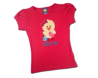 Girl's Easter Shirt with Lil Chick and Embroidered Name