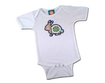 Baby Boy '1st Easter' Plaid Rabbit Bodysuit with Monogram