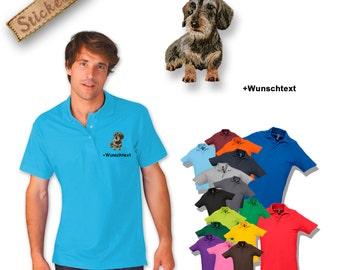 Polo shirt cotton embroidered embroidery dog DACKEL 2, TECKEL, DACHSHUND + own words