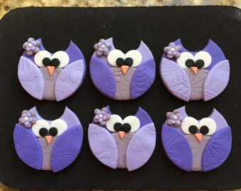 12 Owl Cupcake Fondant Toppers