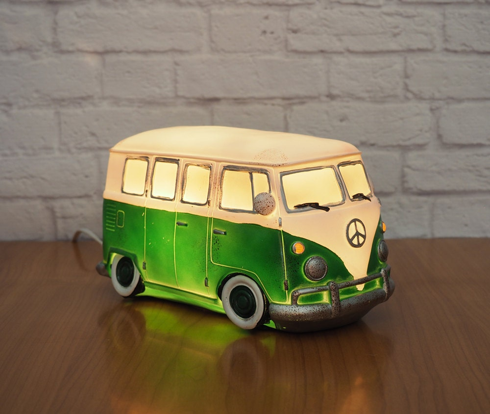 retro vw bus night light novelty lamp green and white. Black Bedroom Furniture Sets. Home Design Ideas