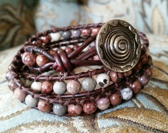 Multi Wrap Leather Bracelet - Boho Triple Wrap, Genuine Stone Wrap - Flower Jasper Gemstone Wrap Bracelet With Spiral Button
