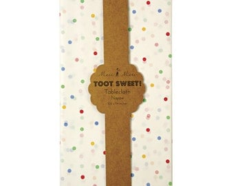 Meri Meri Toot Sweet Spotty Tablecloth,  Paper Table Cloth in Rainbow Polka Dots