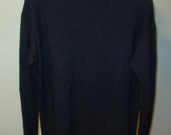 Men's Cashmere Sweater Hand Knitted in Dark Gray Color