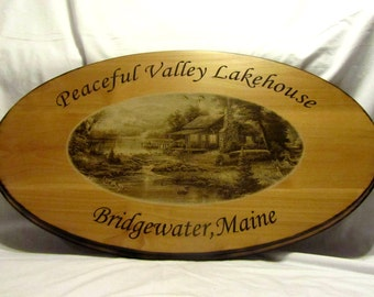 Large Custom Wood Cabin Sign With Rustic Burned Edges
