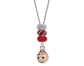 Ohio State Buckeye and Crystal Charm Necklace