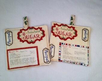 Flour Milk Recipe Sugar Potholder Hotpad, potholder,  mother's day gift, kitchen decor, potholder, hotpad,