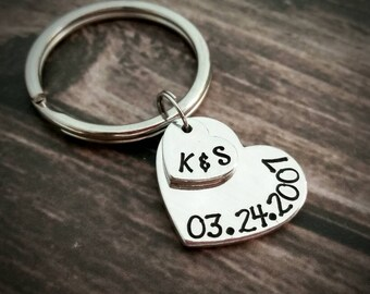 Personalized hand stamped monogrammed couples initials and anniversary date heart stacked keychain