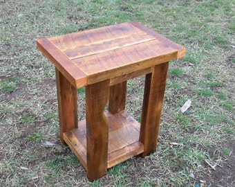 Reclaimed barnwood end table / night stand. Made in Montana.