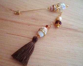 Desert Sand- Pearl Crystals and Brown Tassel Hijab Pin- Stick Pins / Hat Pins / Decorative Pins / Eid Gifts / Bridal Gifts