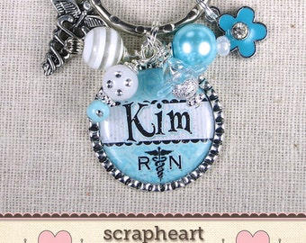 PERSONALIZED RN Key Ring, Custom Nurse Jewelry, Nurse Graduation Gifts, Medical School Graduation Gift,Customized For Any Credentials Needed