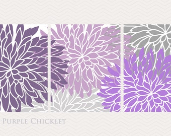 Purple Dahlia Flower Bursts Set of 3 Floral Wall Art Prints Lavender Lilac Purple Gray Living room Decor Girls Room Art 8x10 Prints 201(ab)