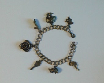 Alice in Wonderland Charm Bracelet in Bronze