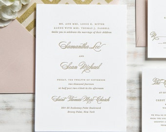 The Samantha Suite | Metallic Foil Letterpress Invitation SAMPLE