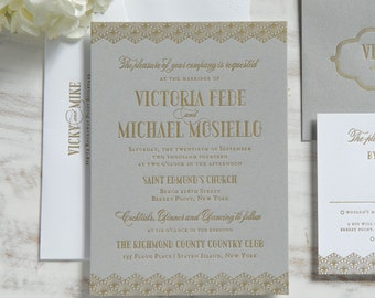 The Victoria Suite | Metallic Foil Letterpress Invitation SAMPLE