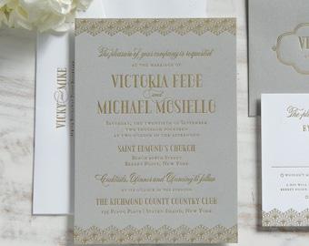 The Victoria Suite | Metallic Foil Letterpress Invitation SAMPLE
