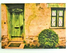 Photo Greeting Card Blank Note Card with Envelope of House with Green Door for Correspondence, Thank You Card, Birthday Card or New Address