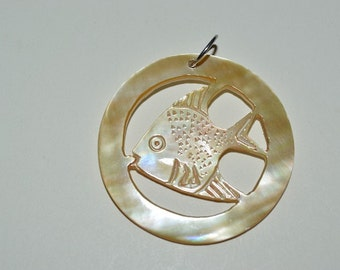 1960's Vintage Authentic Carved Mother of Pearl Sun Fish Charm/Pendant - 1 Piece(1060094)