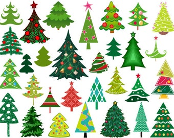 Instant Download Christmas Tree Digital Clip Art Christmas Tree Clipart Scrapbooking Christmas Tree Elements 0371