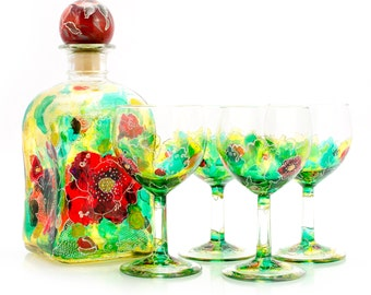 "Unique wine set ""Poppies"""