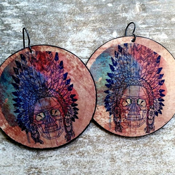 Indian-Headdress-Native American-Skull-Earrings-Big-Chunky-Statement-Boho-Festival-Circle-Paper-Artisan-The Artisan Group