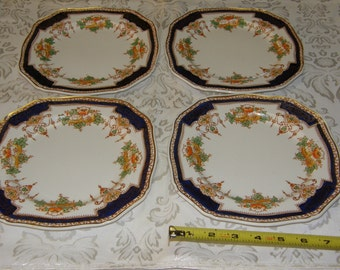 Royal Victoria Royal Semi Porcelain EnglandSet of 4 Luncheon Plates