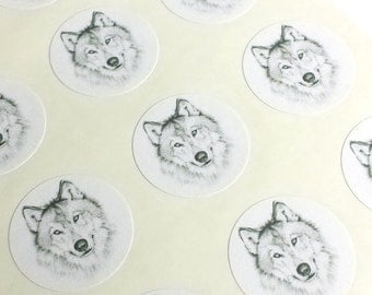 """1"""" Round - 12 White Envelope Seals/Stickers - Wolf for Wedding Envelope Invitations Decoration, or Wedding Favor, or Planner or Scrapbook"""