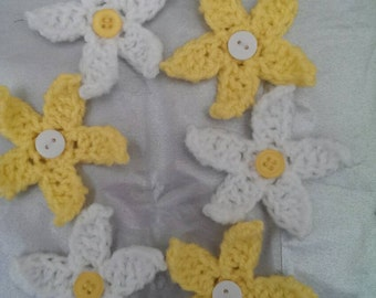 Yellow and White Crochet Applique Flowers