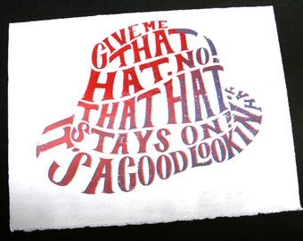 HAT - Hand drawn typographic screen print